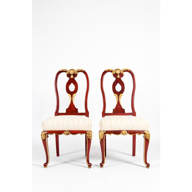 Pair wood framed with gilt design details continental side chairs. Each chairs is in great vintage condition. Minor wear...