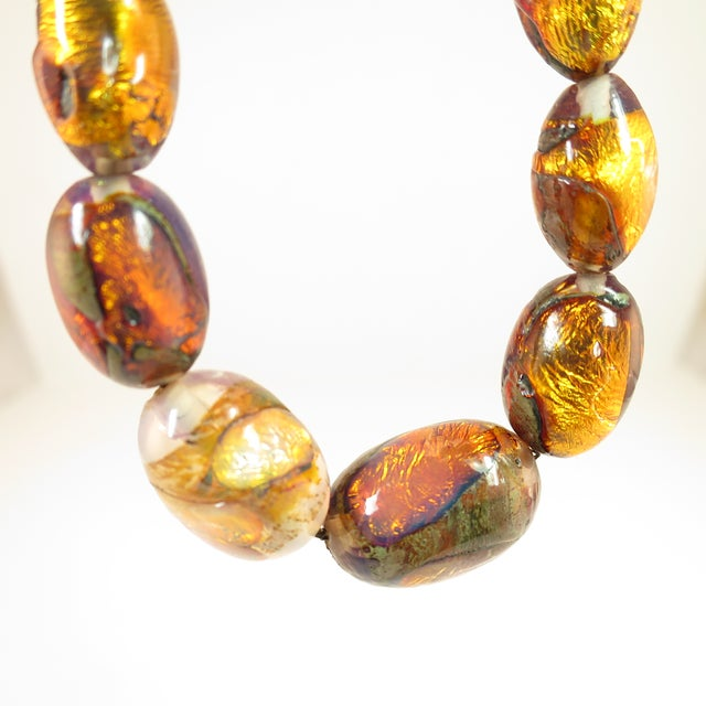 Gold Venetian Fire Opal Foiled Glass Bead Necklace 1950s For Sale - Image 8 of 13