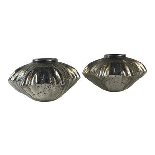 Mercury Glass Star Shaped Candle Holders - A Pair For Sale