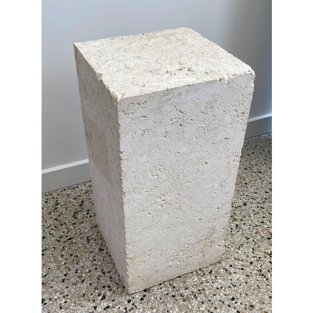 Stone Vintage Low Pedestal in Cream Color Natural Travertine Stone For Sale - Image 7 of 9