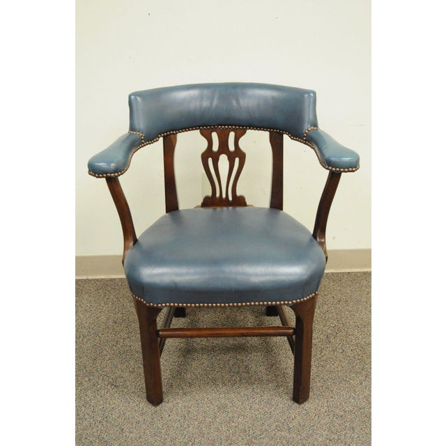 Vintage Ephraim Marsh Chippendale Blue Leather & Mahogany Library Office Arm Chair - Image 3 of 11