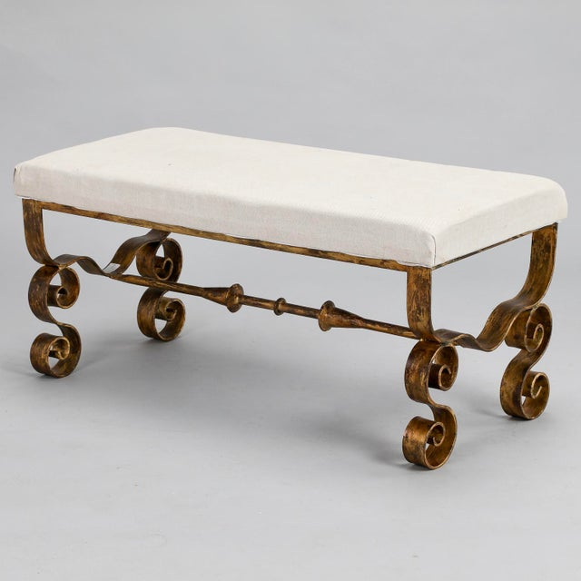 Upholstered Bench with Scrolled Gilt Metal Legs - Image 5 of 8