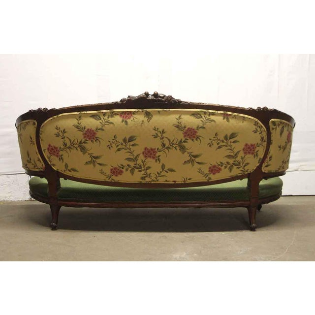 Carved Wood Frame & Green Upholstery Victorian Sofa For Sale - Image 11 of 13