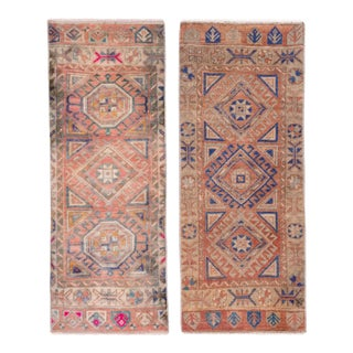 Pair Distressed Small Turkish Rug 21'' X 50'' For Sale