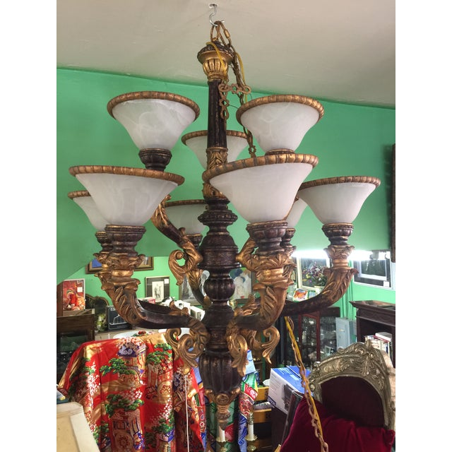 Italian Baroque Chandelier With Alabaster Shades For Sale - Image 9 of 11
