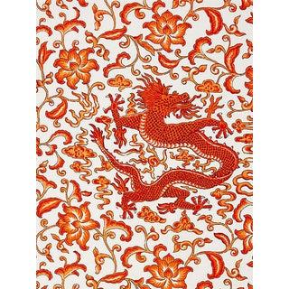 Scalamandre Chi'En Dragon Linen Print, Persimmon Fabric For Sale