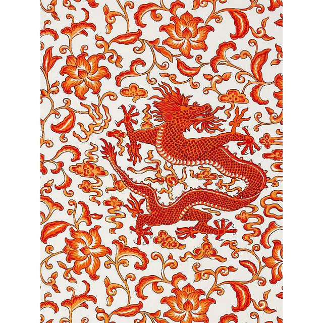 Scalamandre Chi'En Dragon Linen Print, Persimmon Fabric For Sale