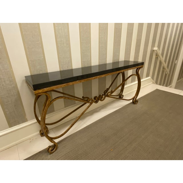 Neoclassical Black Granite and Iron Console or Sofa Table For Sale In Chicago - Image 6 of 10