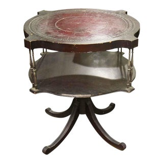 1940s Antique Round Leather Inlay Top Wooden Table For Sale