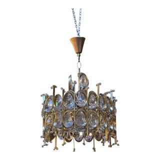 1960s Vintage Hollywood Regency Style Gaetano Sciolari for Palwa Multi Tiered Crystal Chandelier For Sale