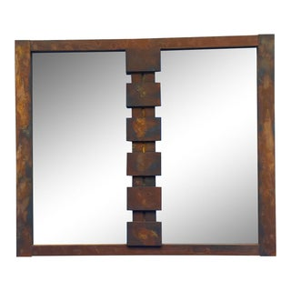 Lane Mid-Century Modern Mosaic Brutalist Mirror in Rust For Sale