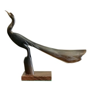 Vintage Carved Horn Peacock Bird Figurine For Sale