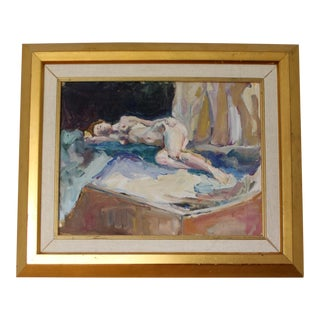 1970s Vintage Nude Female Oil on Canvas Painting For Sale