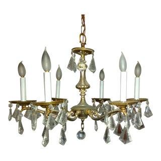 6-Light Vintage Brass and Crystal Chandelier