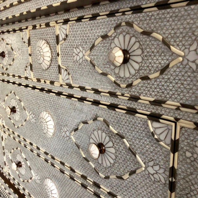 Bone Moorish All White Syrian Mother of Pearl Inlay Dresser For Sale - Image 7 of 10