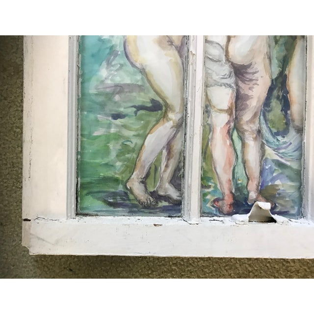 Antique White 'The Three Graces' Original Watercolor Painted Framed Windows - Set of 3 For Sale - Image 8 of 13