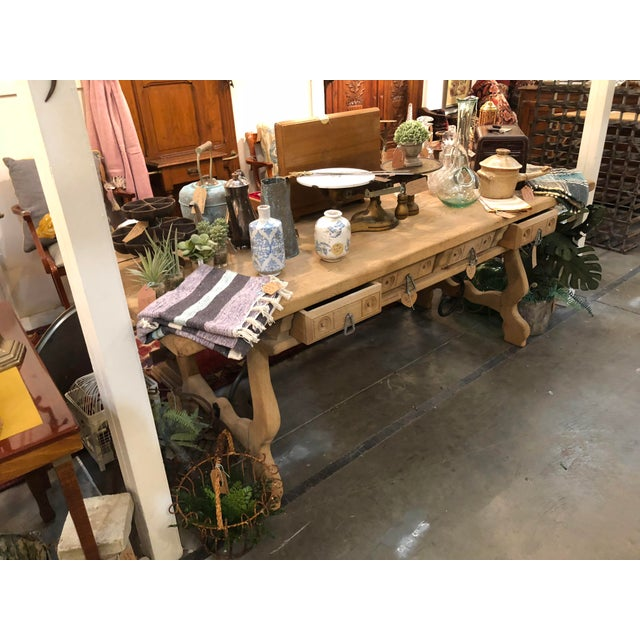 Antique English Oak Farm Table with Iron Stretcher and Drawers For Sale - Image 9 of 10