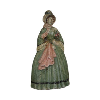 Colonial Dame Cast Iron Door Stop Attributed to Albany Co. For Sale