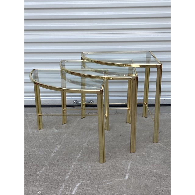 Mid Century Milo Baughman Glass Top Corner Nesting Tables - 3 Pieces For Sale In Sacramento - Image 6 of 11