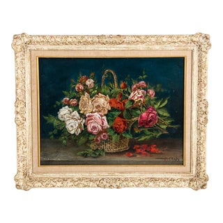 Early 20th Century Flowers Still Life Oil on Board Painting With Wood Frame For Sale