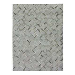 "Dover Patchwork Leather/Viscose Ivory/Gray Rug-9'6""x13'6"" For Sale"