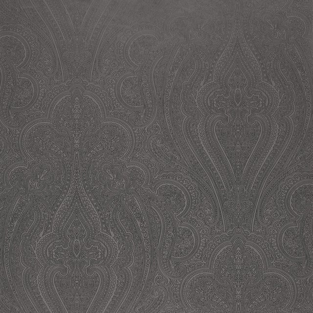 Sample - Schumacher Breckenridge Paisley Wallpaper in Charcoal For Sale