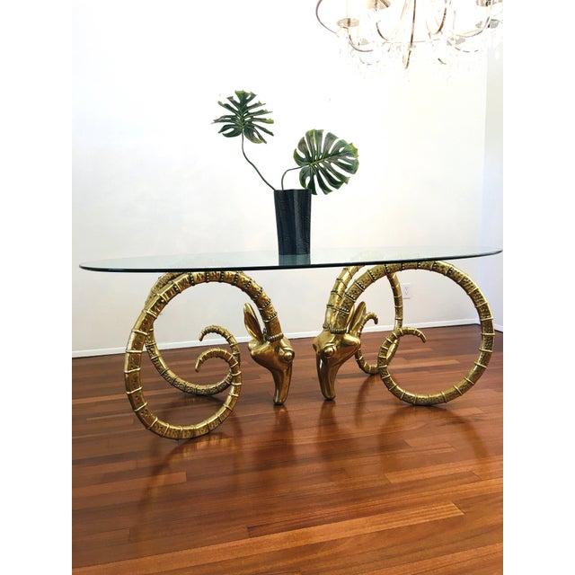 Vintage Brass Ram's Head / Gazelle Alain Chervet Style Hollywood Regency Dining Table For Sale In Las Vegas - Image 6 of 13