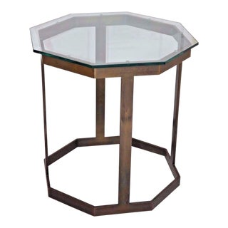 Vintage Milo Baughman Style Octagon Brass & Glass End Table For Sale