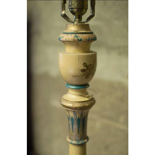 Chinoiserie Paint Decorated Wooden Floor Pole Lamp For Sale - Image 4 of 10