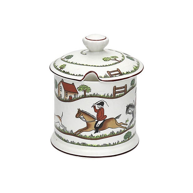 Late 20th Century Crown Staffordshire Fox Hunt Scene Jam / Preserves Pot For Sale - Image 5 of 5