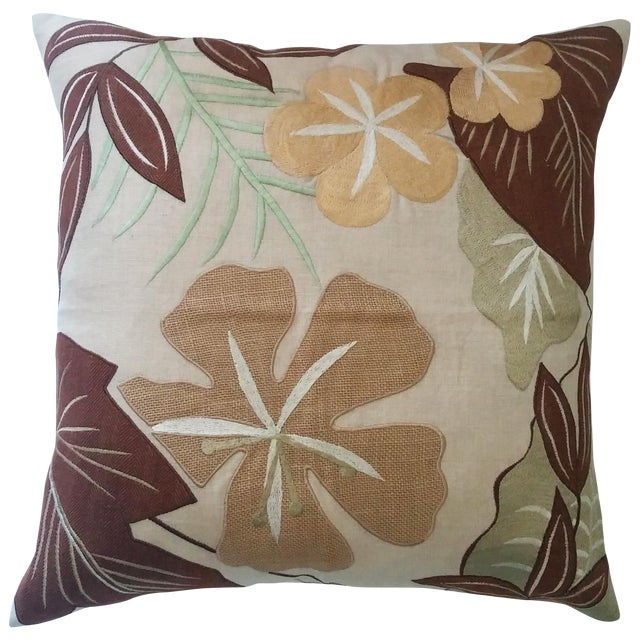 Tropical Embroidered Pillow Cover - Image 1 of 3