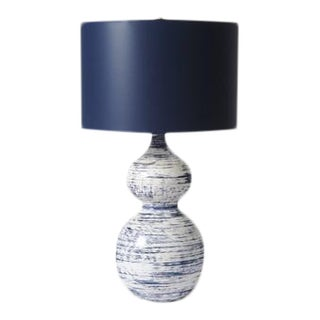 "Barbara Cosgrove ""Julie"" Table Lamp, Navy/White, 27"""