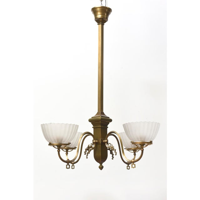 Four Arm Brass Gas Chandelier For Sale - Image 11 of 11