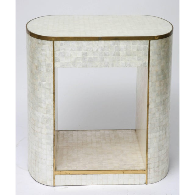 Capiz Shell and Antiqued Brass Cabinet by Platt Collections For Sale - Image 10 of 11
