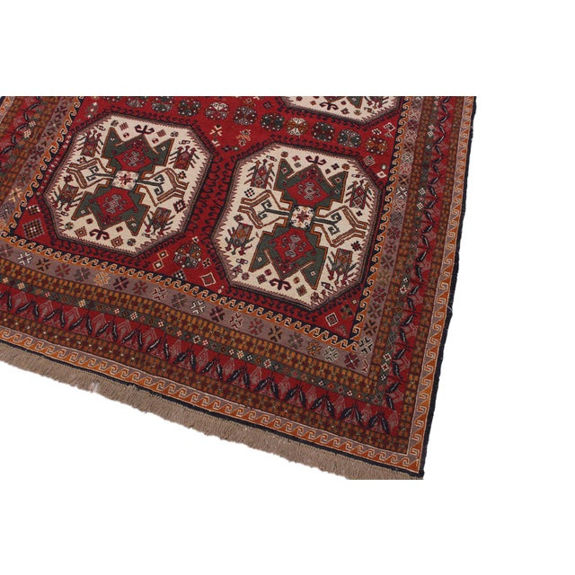 """Tribal Antique Tribal Soumakh Sal Wool Rug - 6'2"""" X 8' For Sale - Image 3 of 9"""
