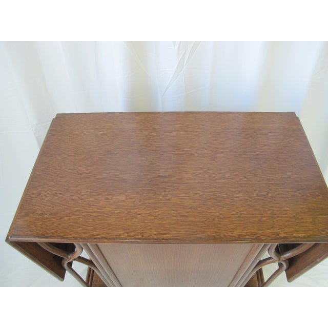 1980s 1980s Mid-Century Modern McGuire Wood Dry Bar Rolling Cart For Sale - Image 5 of 12