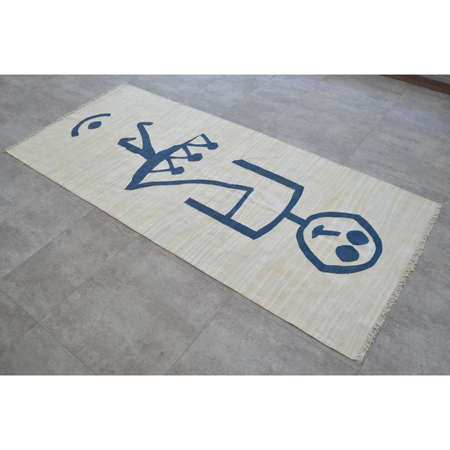 Art Deco Paul Klee - Pochoir Unfall (Accident) - Inspired Silk Hand Woven Area - Wall Rug 3′ × 6′8″ For Sale - Image 3 of 12