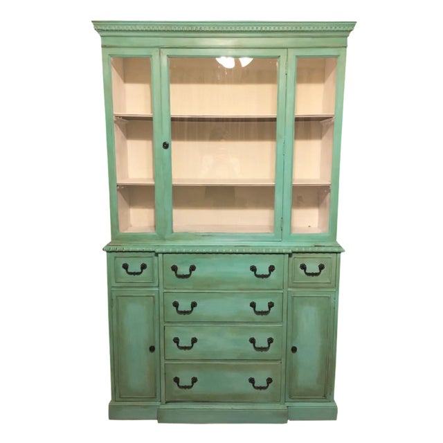 Vintage Green China Cabinet For Sale