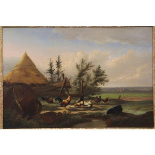 """""""Countryside Fowl"""" Antique Oil Landscape Painting by Johan Leemputten Circa 1868 For Sale"""