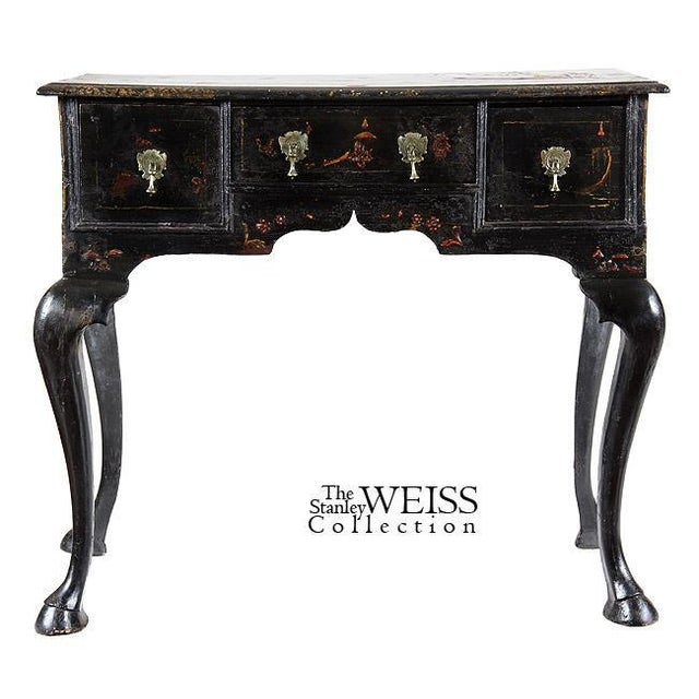 Black Lacquer Queen Anne Chinoiserie Dressing Table - Image 3 of 8
