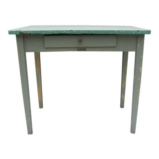 Vintage Porcelain Top Gray Wood Kitchen Table