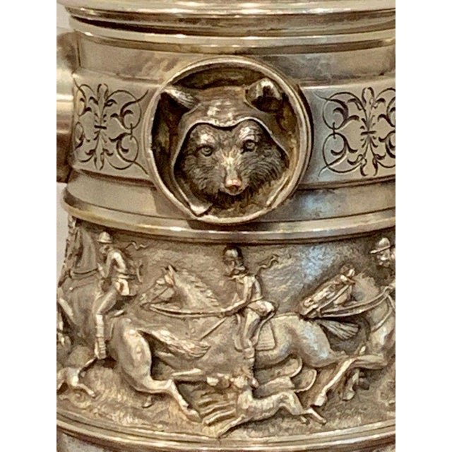 Antique English Silver Plated Equestrian Inkwell, With Dogs & Foxes For Sale - Image 10 of 13