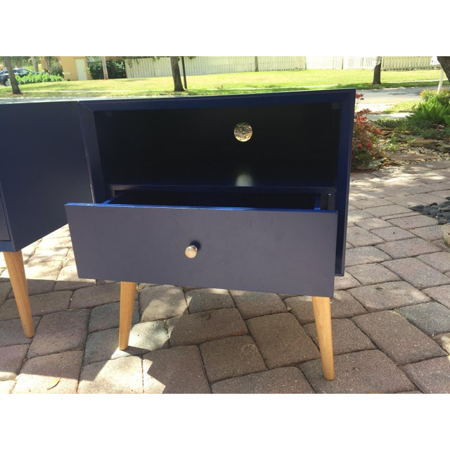 2010s Modern Blue Tapered Leg Nightstands - A Pair For Sale - Image 5 of 8