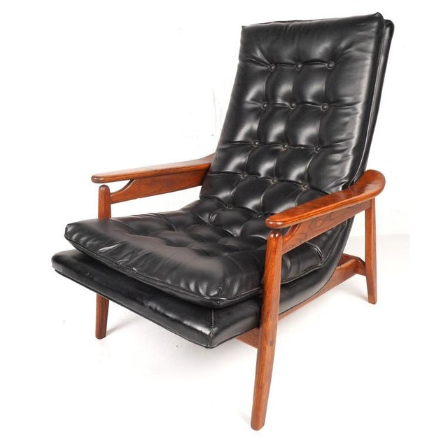 Mid-Century Modern Tufted Vinyl Lounge Chair and Ottoman - Image 2 of 10
