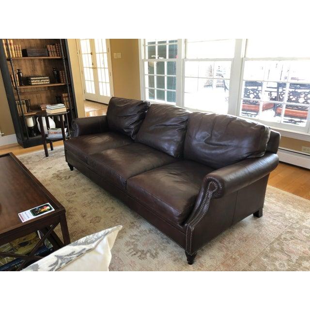 Modern Ralph Lauren Dark Brown Leather Sofa | Chairish