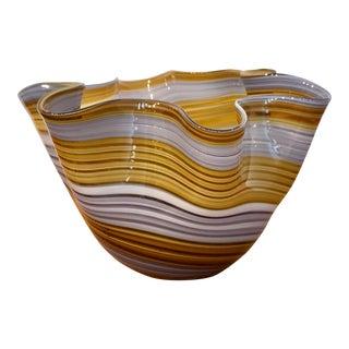 Venini Style Murano Handkerchief Vase For Sale