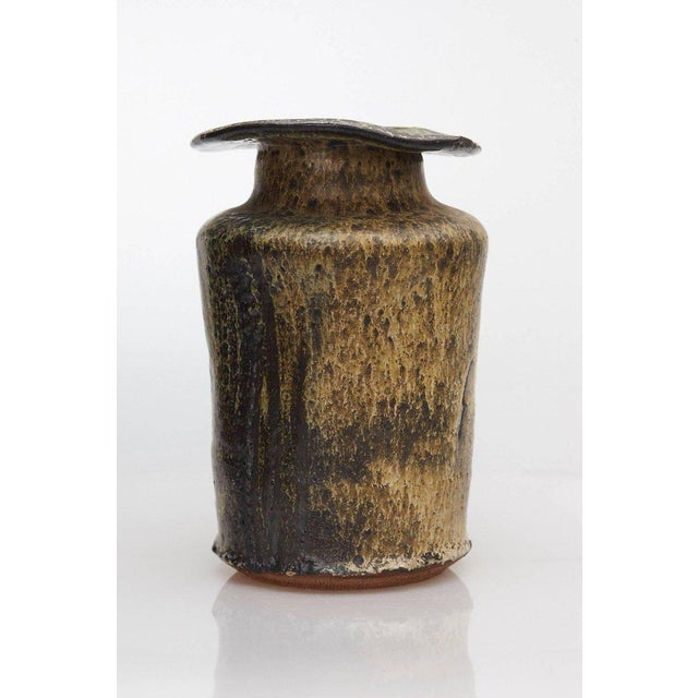 Ceramic Hand Thrown Freeform Ceramic Vase in Multiple Brown Shades, Signed For Sale - Image 7 of 10