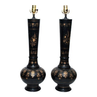 1950s Tall Brass Persian Lamps, Pair For Sale