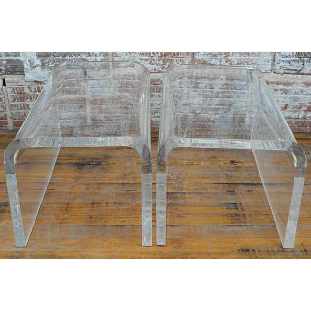 1970s Vintage 1960s-70s Lucite Waterfall Low Tables-A Pair For Sale - Image 5 of 7