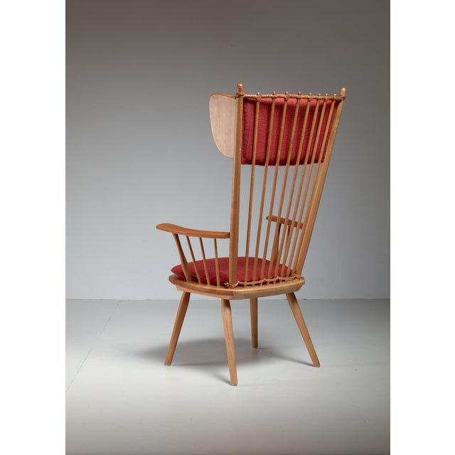 Arts & Crafts Albert Haberer Wingback Armchair, Germany, Circa 1950 For Sale - Image 3 of 11